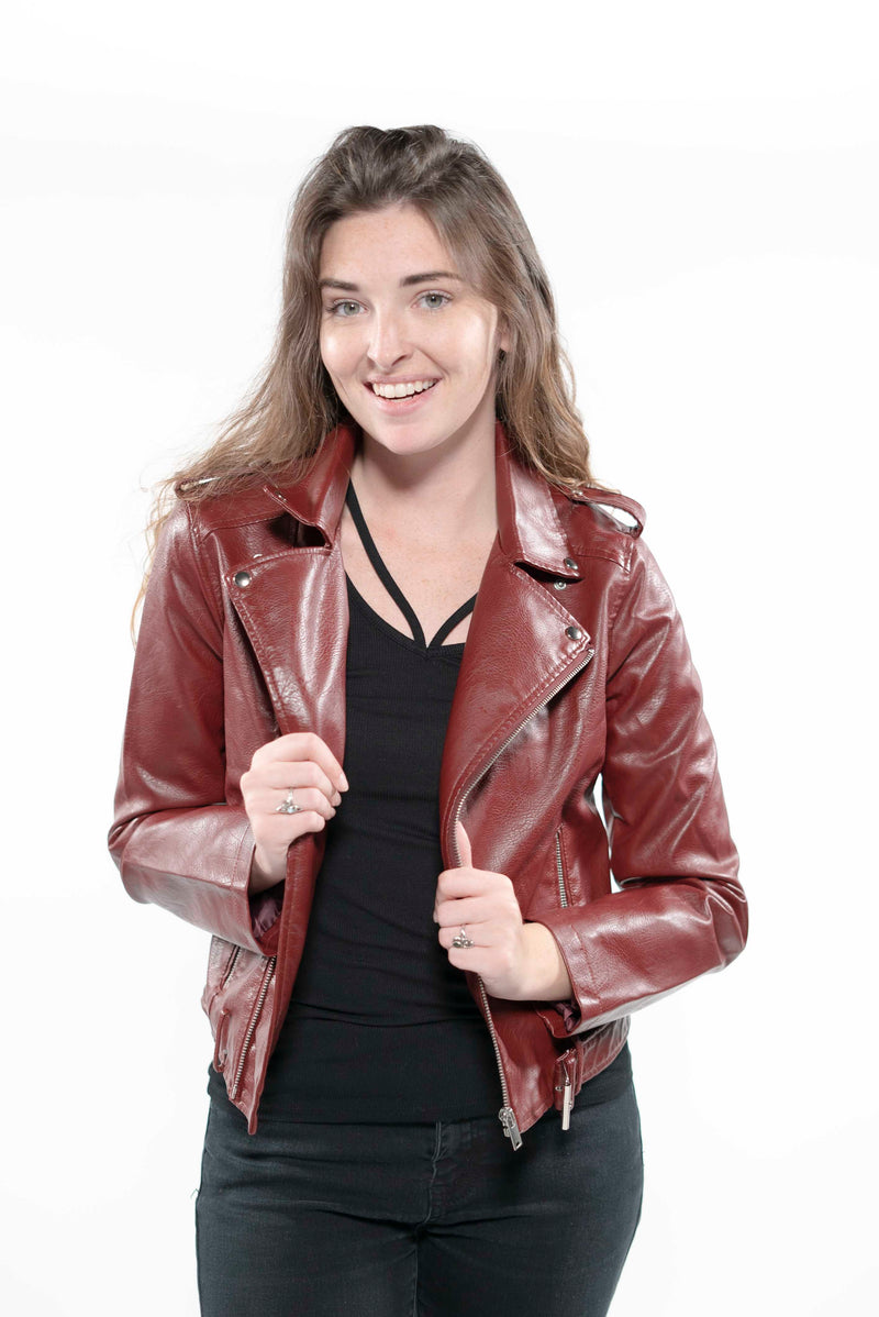 Soft Faux Leather Cropped Jacket Black