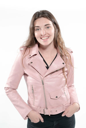 Soft Faux Leather Cropped Jacket Pink