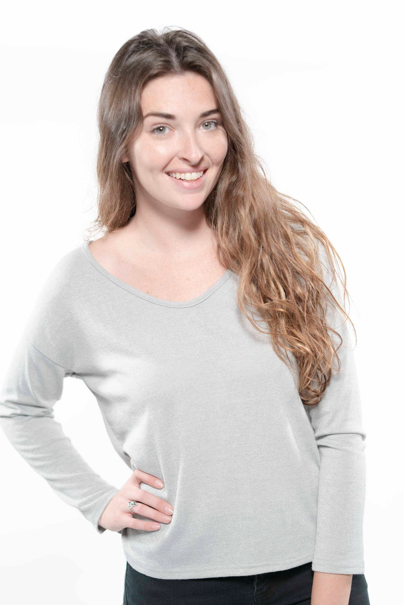 Sexy V-neck Off Shoulder Sweater Grey