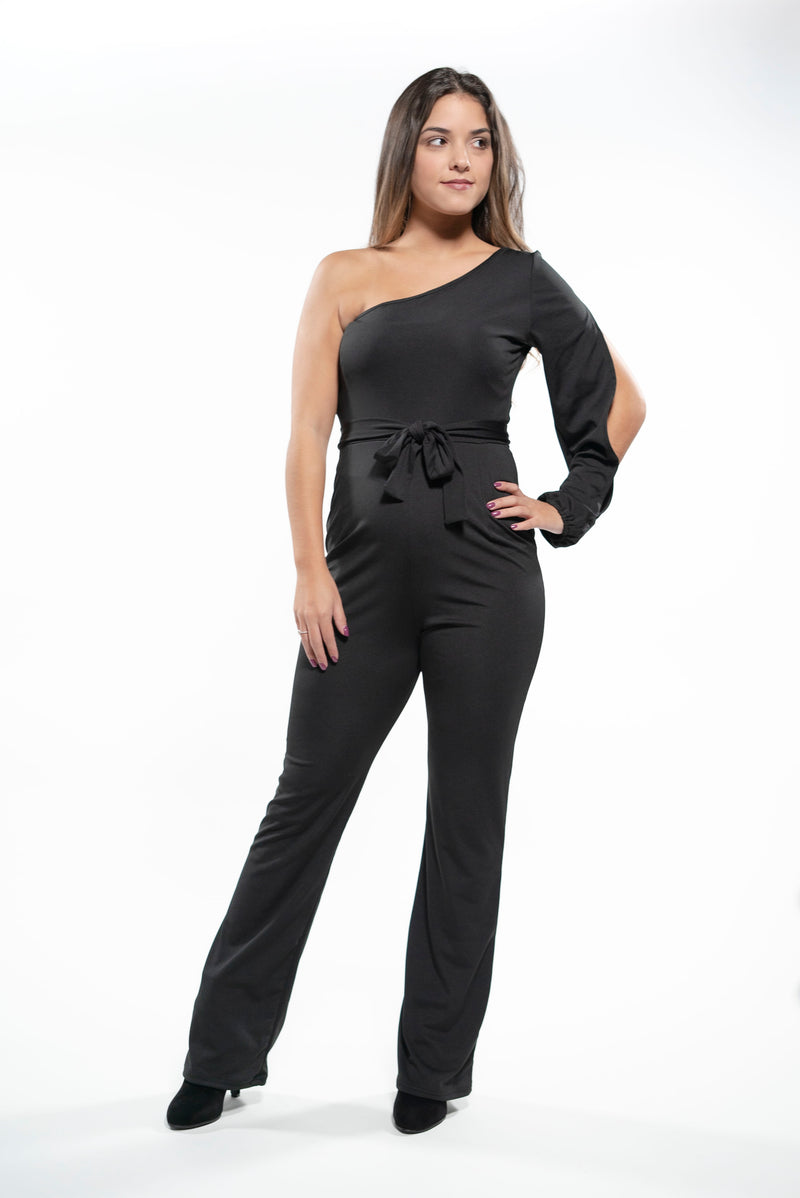 Sophisticated One Shoulder Jumpsuit Black