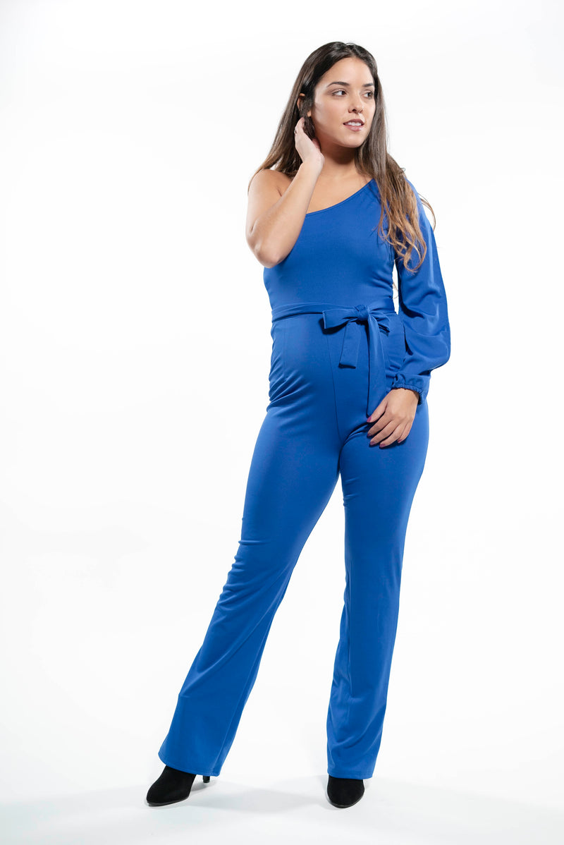 Sophisticated One Shoulder Jumpsuit Blue