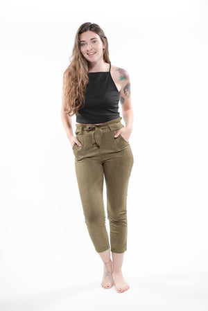 Simply Suede Skinny Leg Front Tie Pants Green