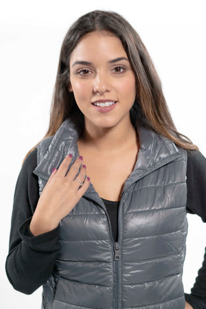 Blue Quilted Puffer Vest