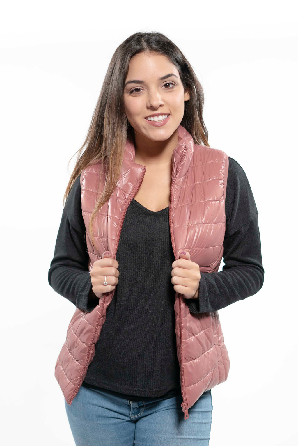 Pink Quilted Puffer Vest S