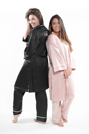 Silk Pajama + Robe Set Black