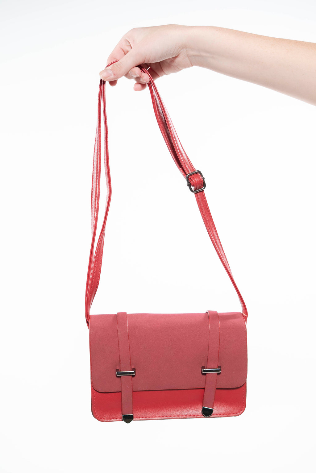 Square Flap Cross Body Messenger Bag Red