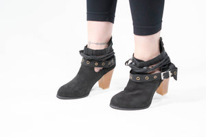 Buckle Braided Strap Ankle Boots black