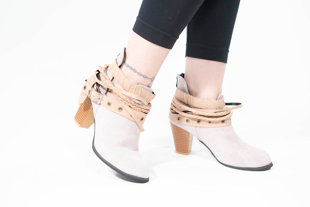 Buckle Braided Strap Ankle Boots