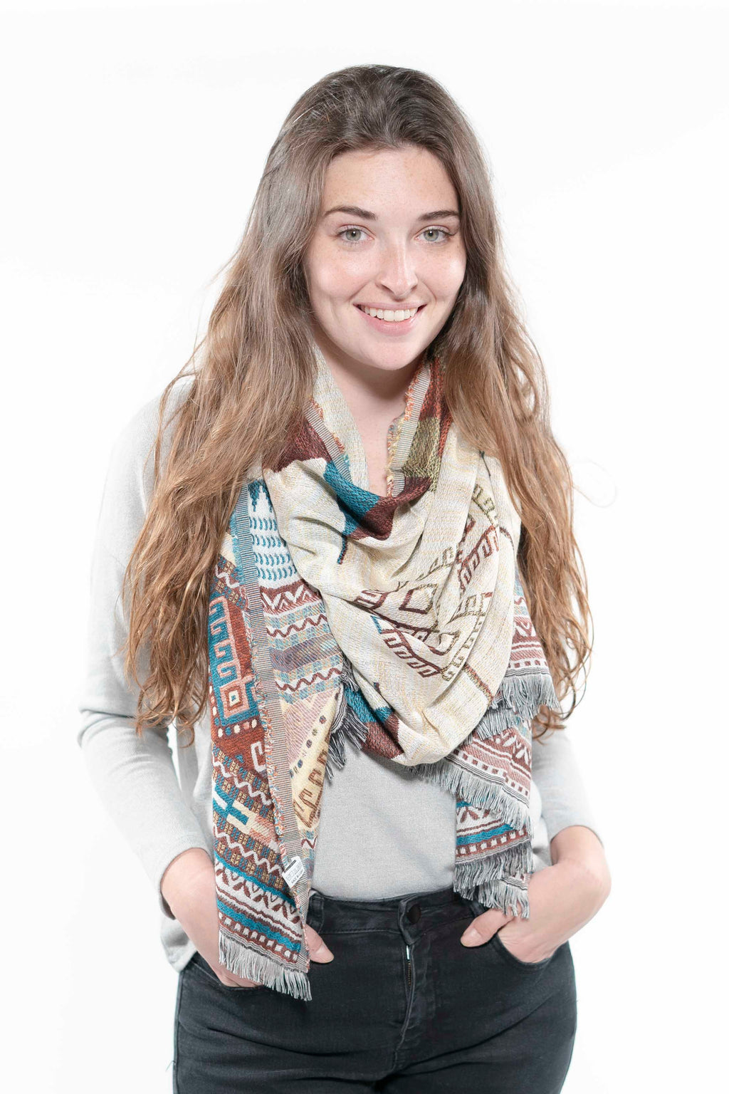 Woven Teal Mix Tribal Print Frayed Long Scarf