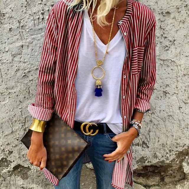 Long Striped Button Up Blouse Blue