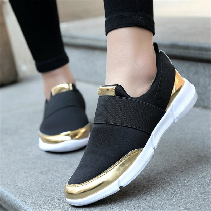 Metallic Trim No Lace Sneakers