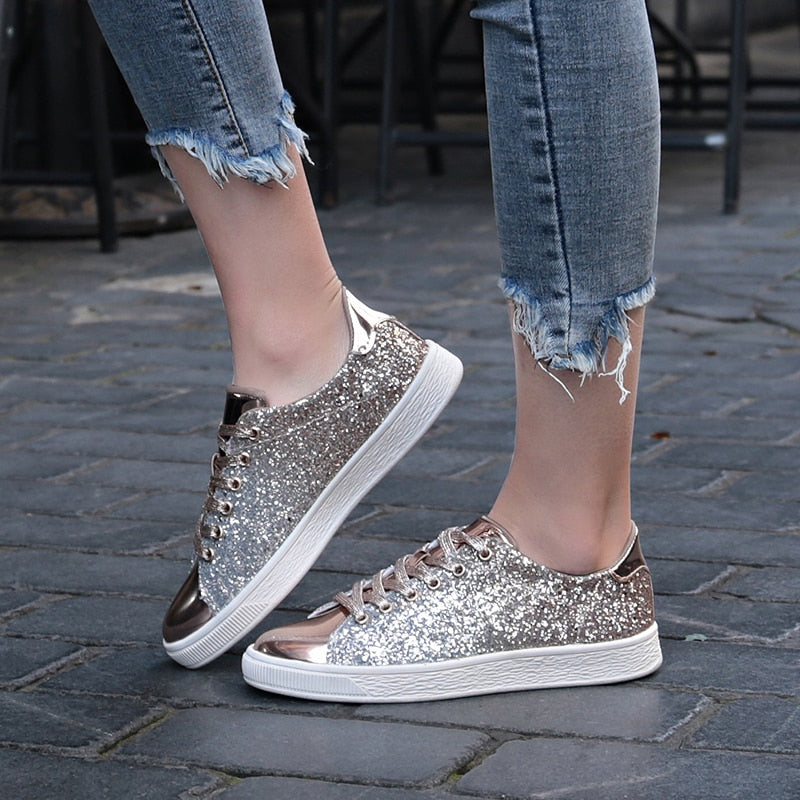 Glitter Front Lace Sneakers