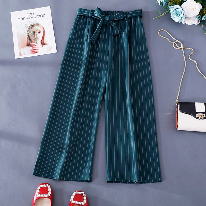 Women's Casual Striped Drawstring Bow Knot Urban Trousers Green