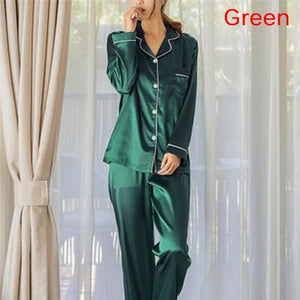 2 Piece Satin Pajama Set Green