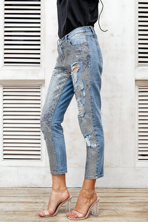 Sequined Patchwork Cut Out Fringe Ankle Jeans