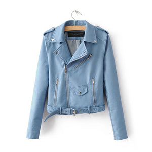 Soft Faux Leather Cropped Jacket Blue