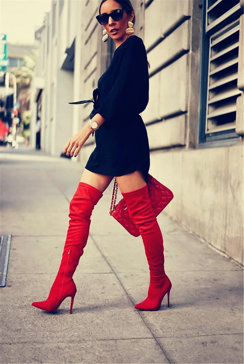 Over The Knee Sexy Handmade Boots Black