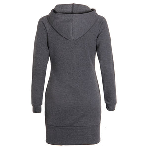 Hoodie Sweatshirt Dress Grey