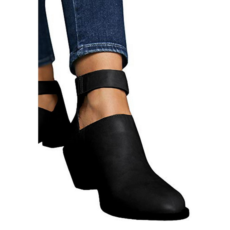 Buckle Strap Ankle Boots Black
