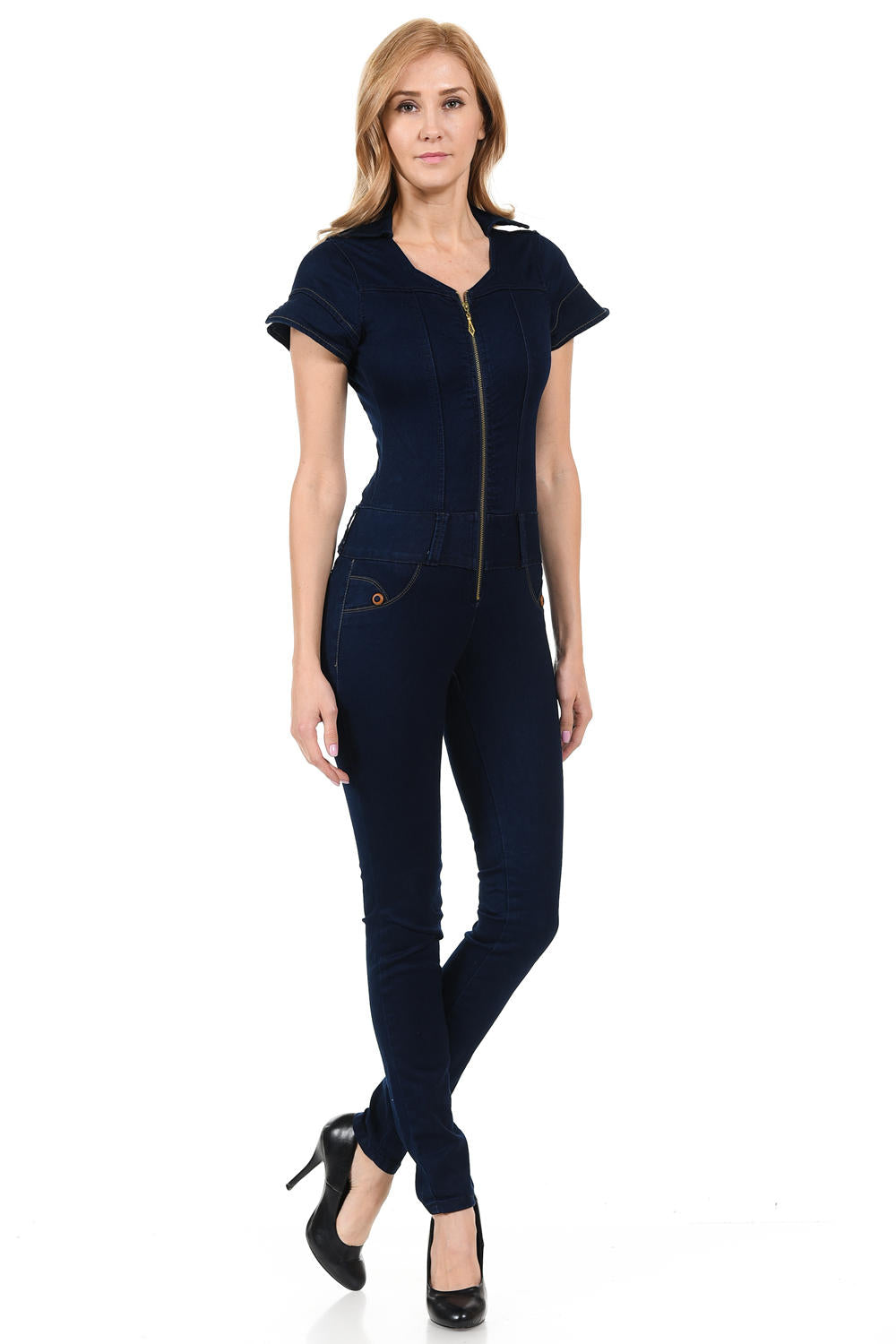 Zip Up Denim Jumpsuit Navy