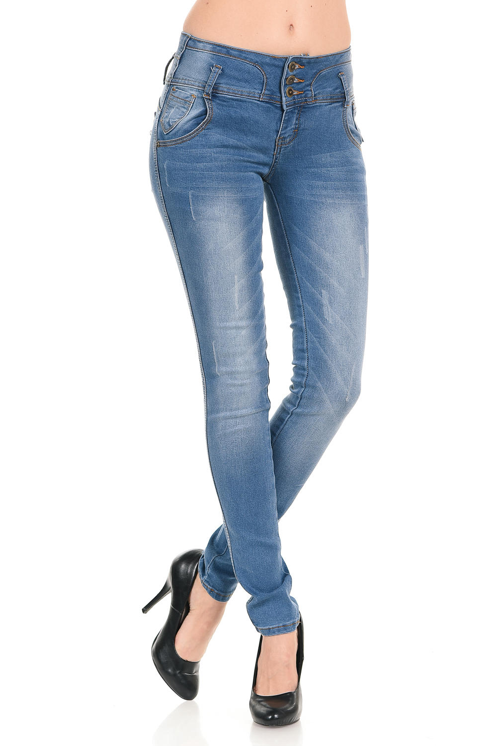 Faded Colombian Push Up Jeans Blue