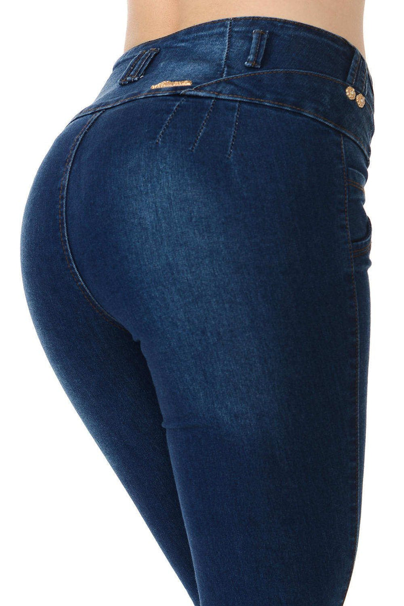 Mid-Waist Skinny Colombian Jeans Navy