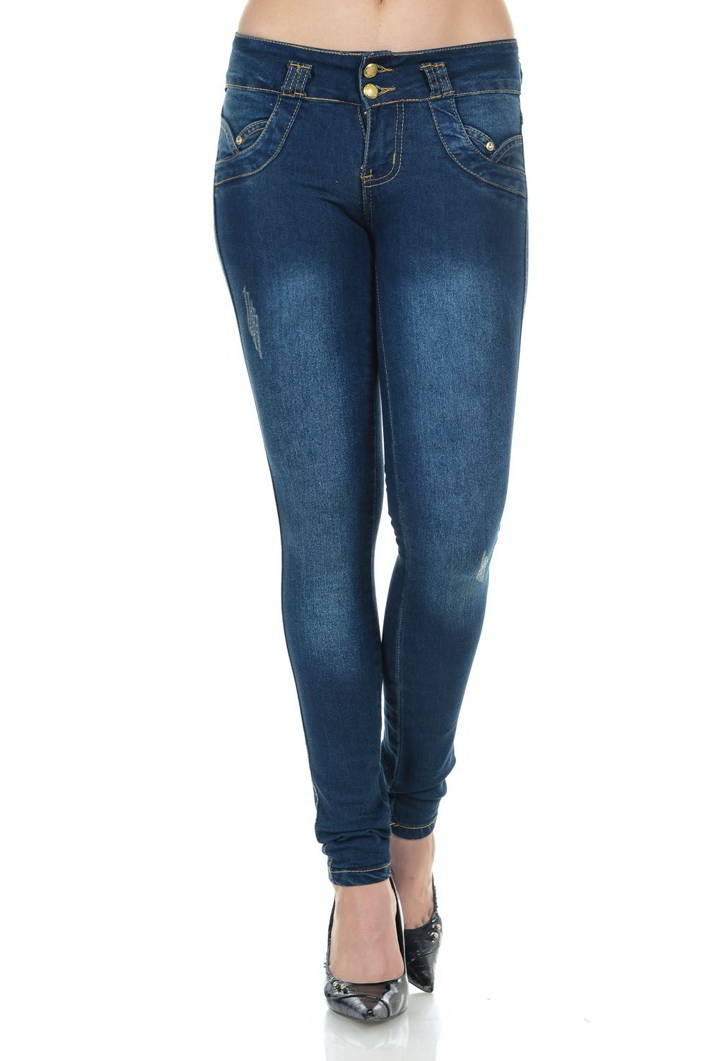 Colombian Push Up Skinny Jeans Blue