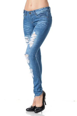 Sweet Look Distressed Jeans Blue