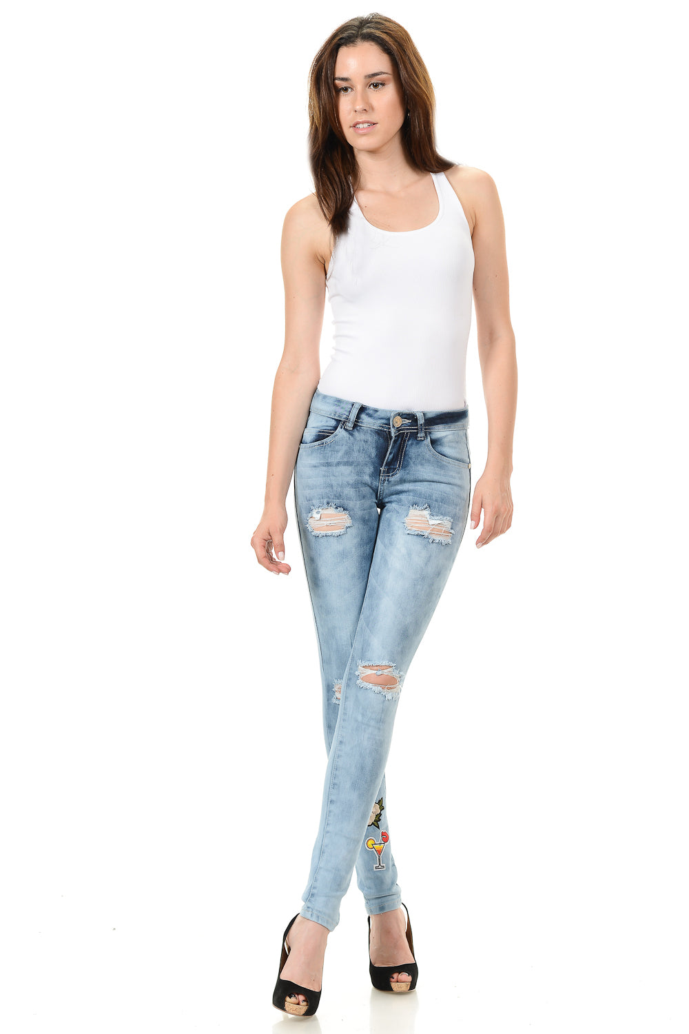 Sweet Look Distressed Patch Jeans Light Blue