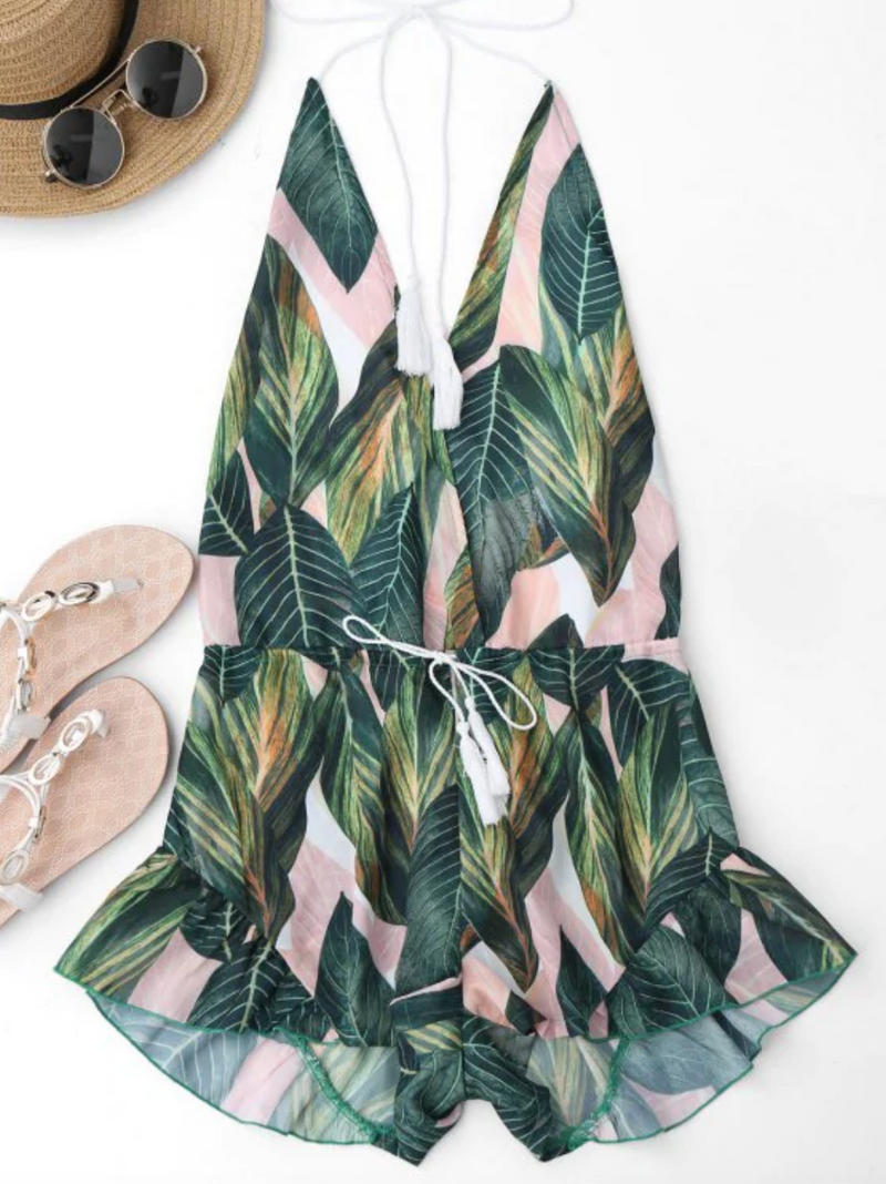 Drawstring Backless Leaf Print Beach Romper - Floral
