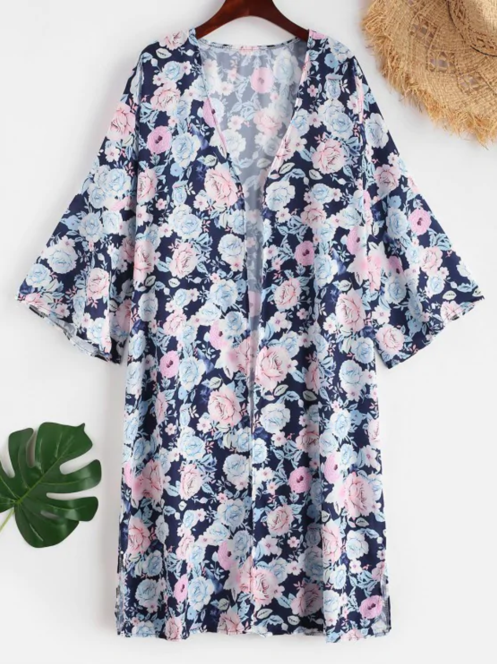 Floral Slit Longline Cover Up