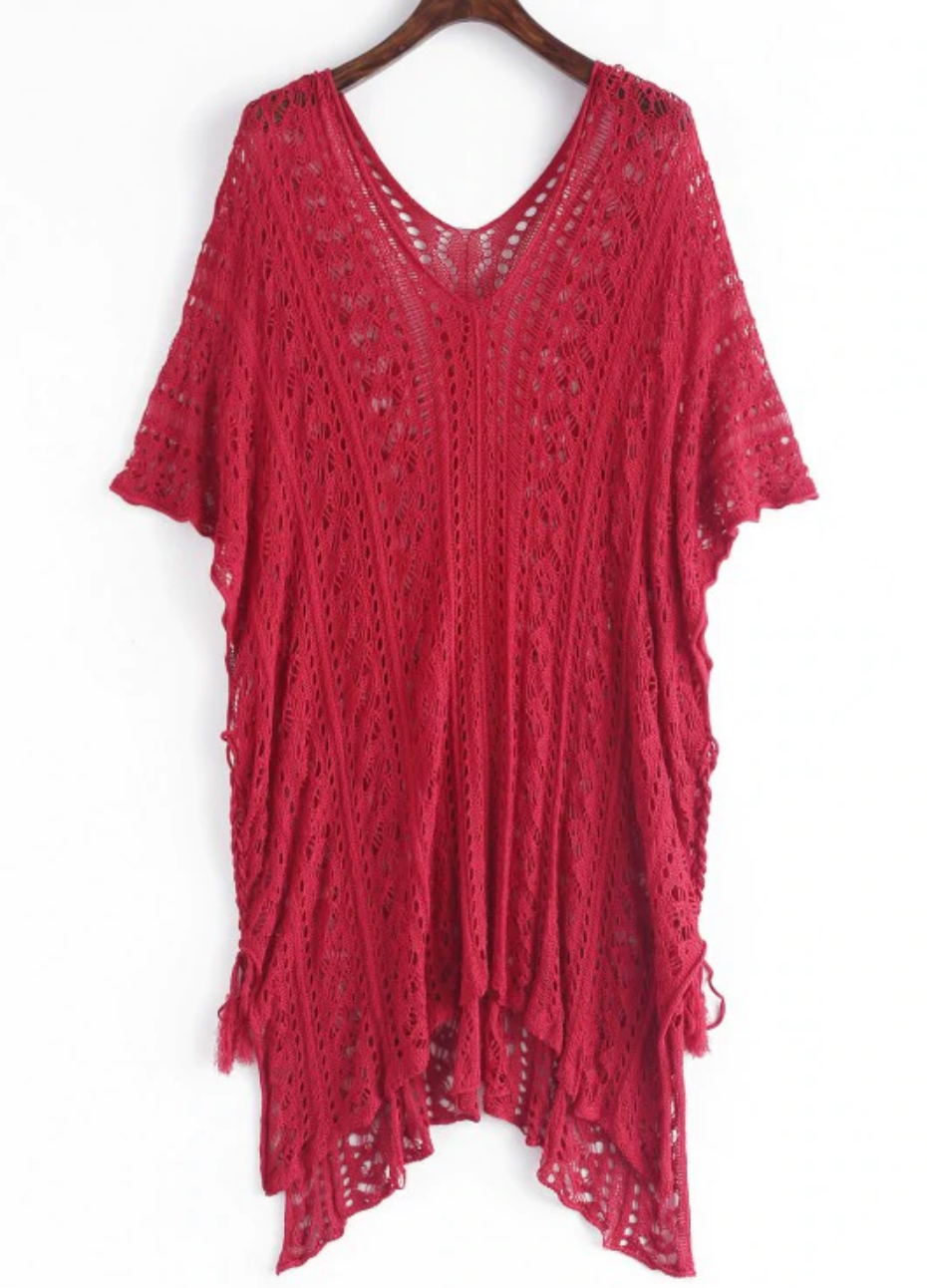 Crochet Slit Batwing Sleeve Tunic Dress - Red