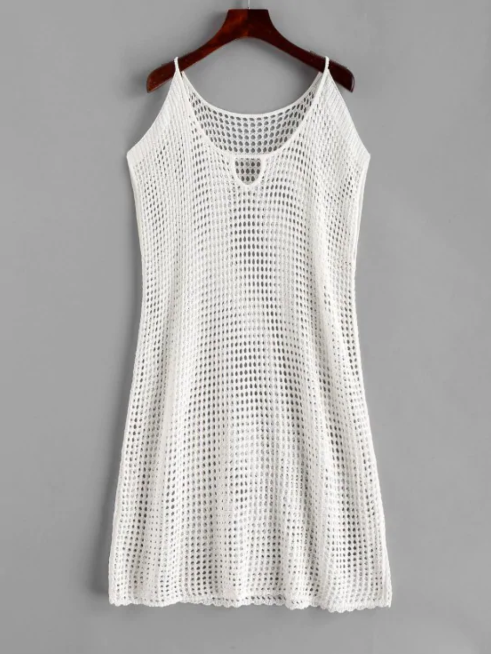 Crochet Keyhole Cold Shoulder Dress - White