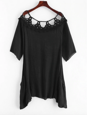 Crocheted Panel Cover-up Dress - Black