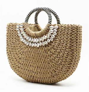 Half Moon Straw Tote Bag With Shell