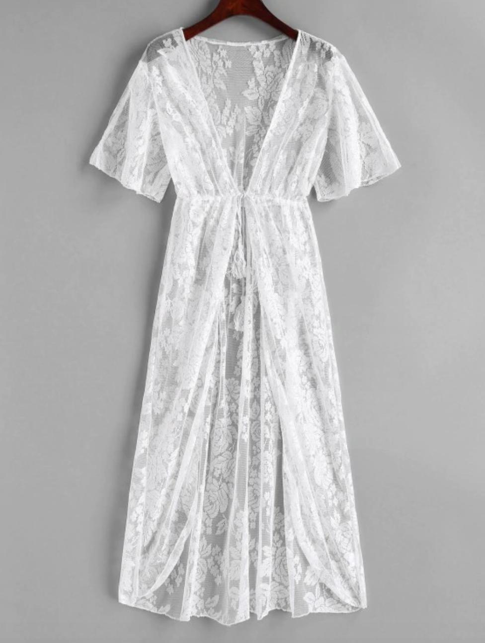 Tie Front Floral Lace Longline Cover Up - White