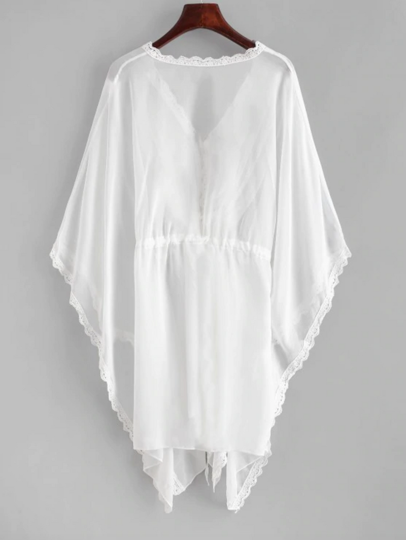 Crochet Trim Batwing Sleeve Cover Up - White