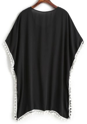 Pom Pom Flower Embroidered Beach Cover Up - Black