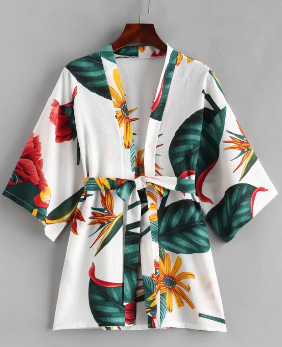 Tropical Print Kimono Cover Up With Belt
