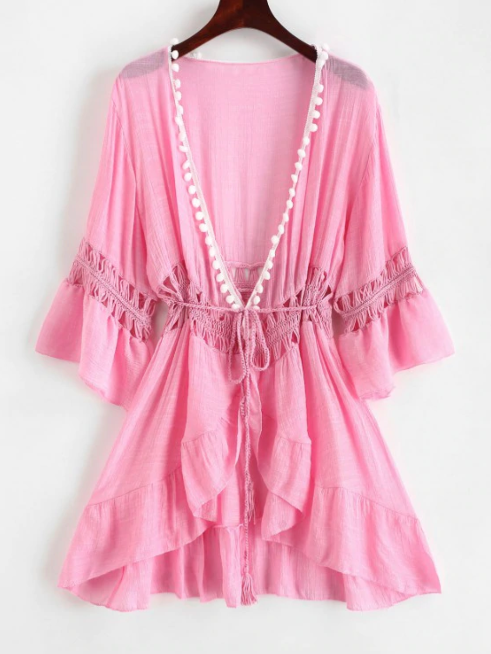 Pom-pom Crochet Panel Beach Dress Pink