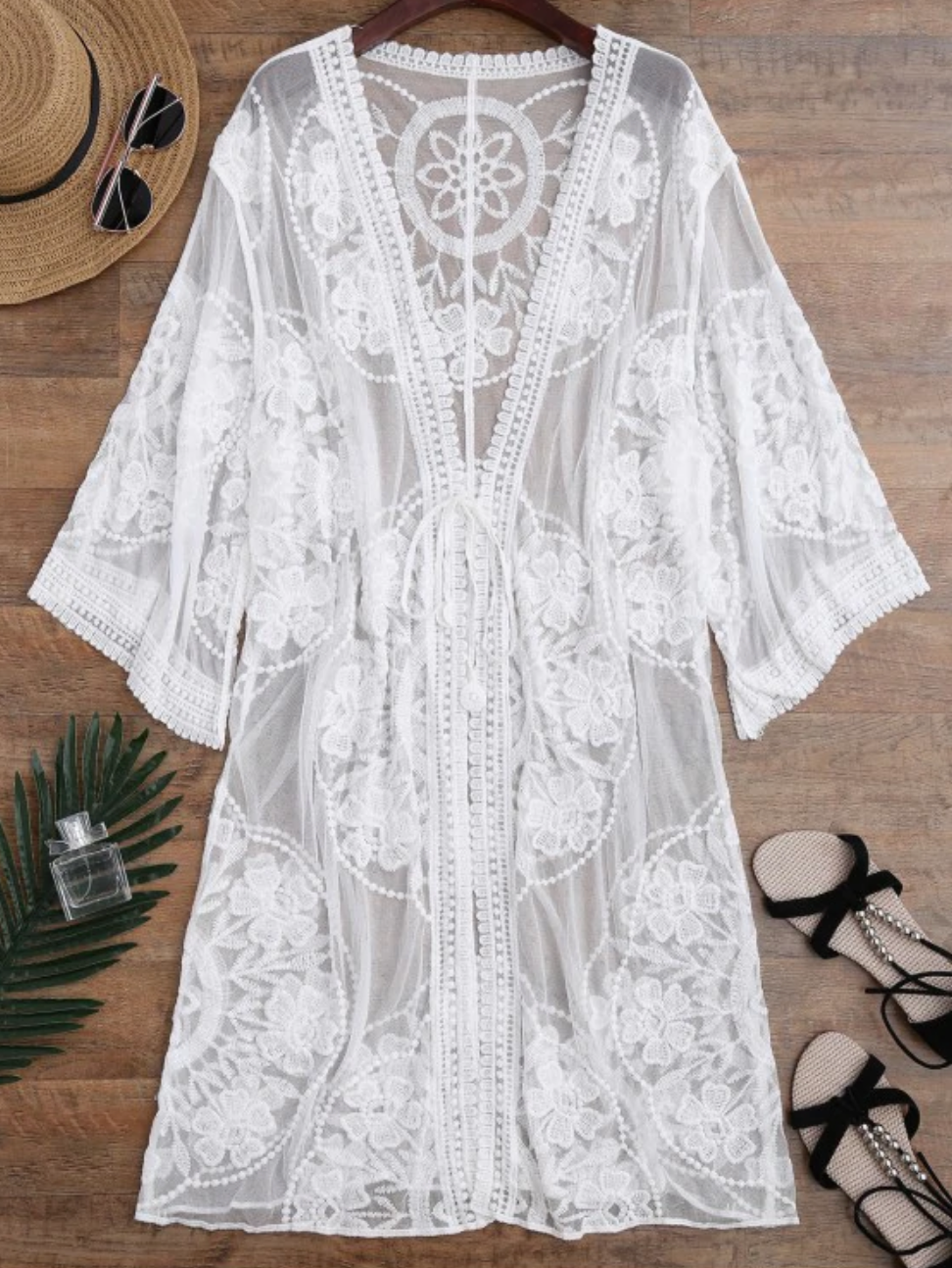 Sheer Lace Tie Front Kimono Beach Cover Up