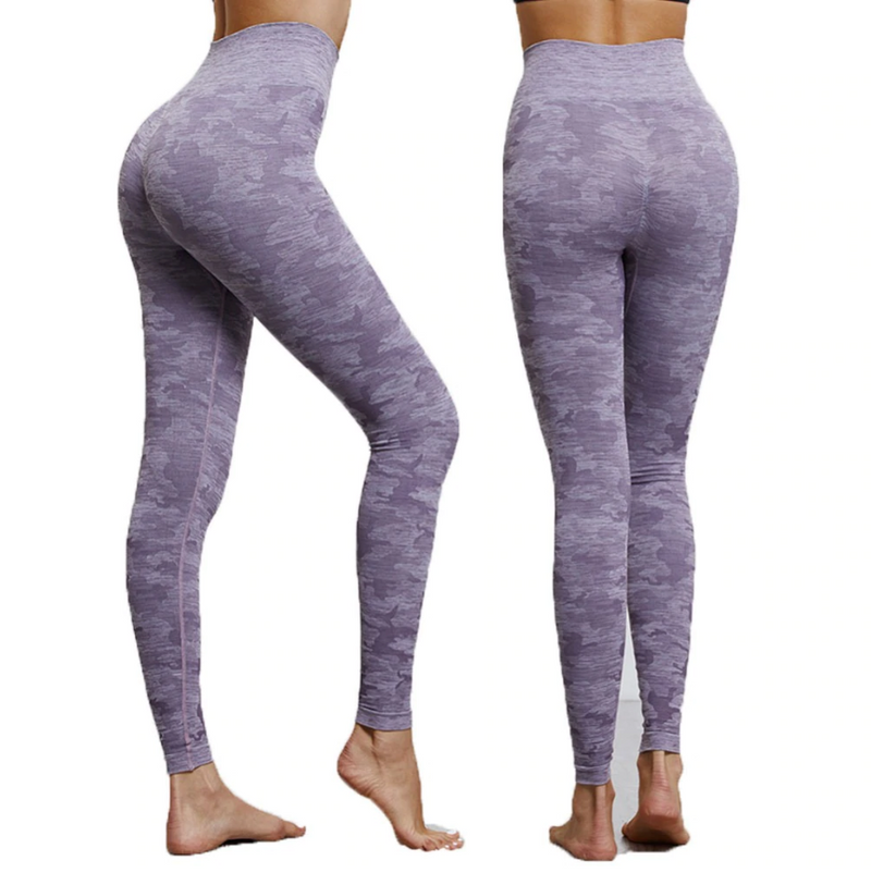 Camo Print High Waist Leggings Purple