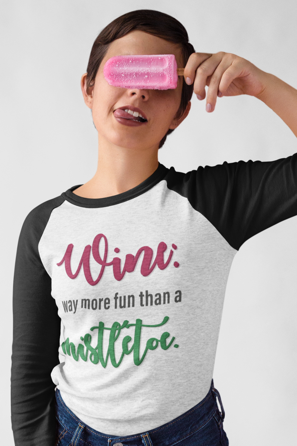 Wine vs. Mistletoe Baseball T-Shirt