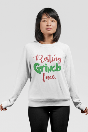 Resting Grinch Face Unisex Crew Neck Sweatshirt White
