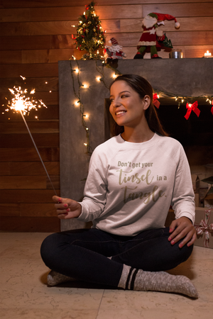Tinsel in a Tangle Unisex Crew Neck Sweatshirt White