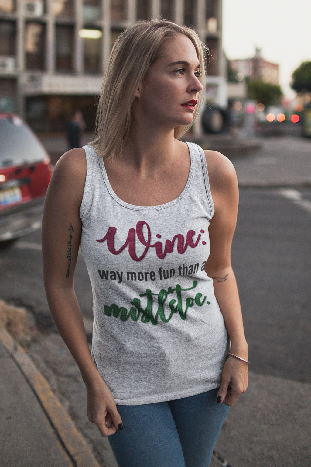 Wine vs. Mistletoe Unisex Tank Top