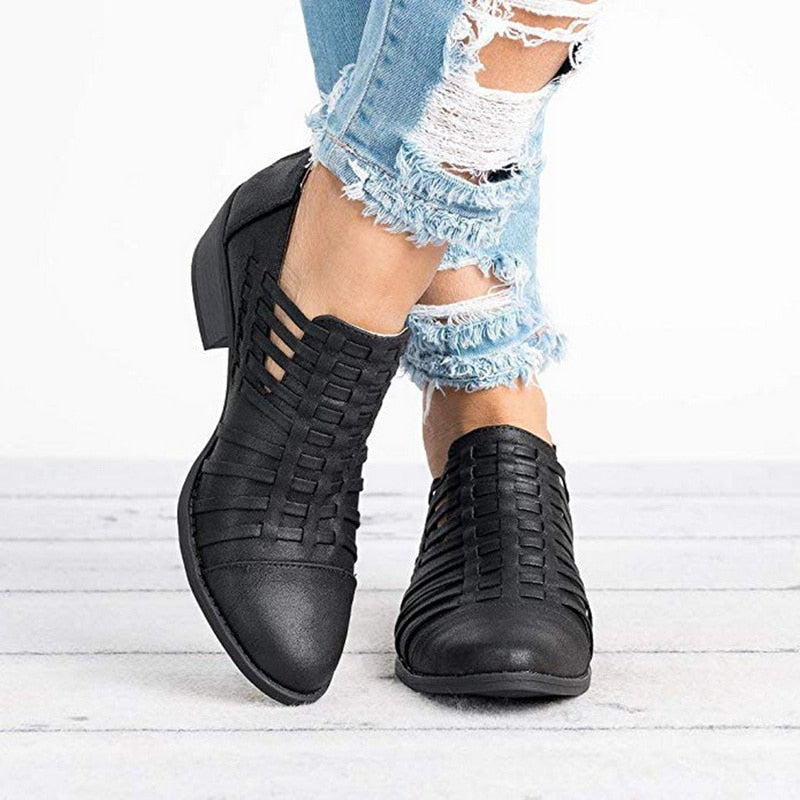 Woven Ankle Boots black