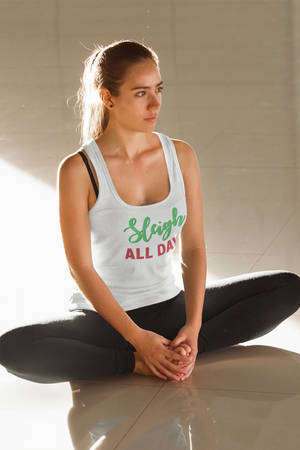 Sleigh All Day Women's Racerback Tank Top White