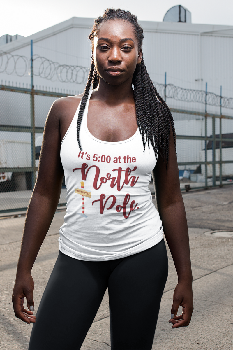 It's 5:00 at the North Pole Women's Racerback Tank Top White