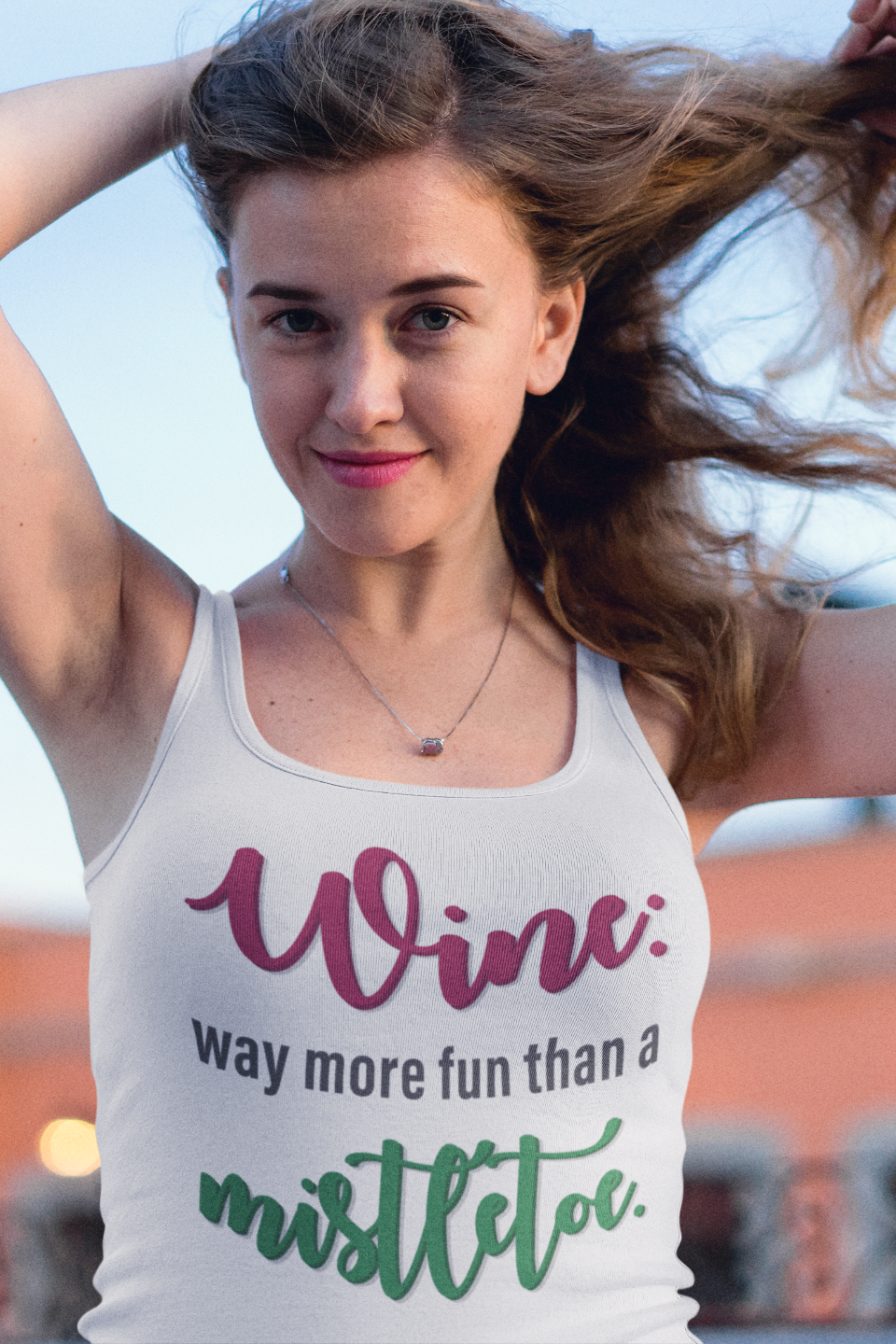 Wine vs. Mistletoe Women's Racerback Tank Top